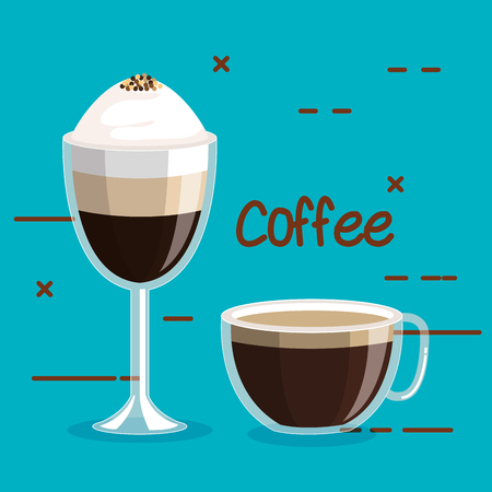 two glass coffee cups foam cinnamon drink on a blue background vector illustration