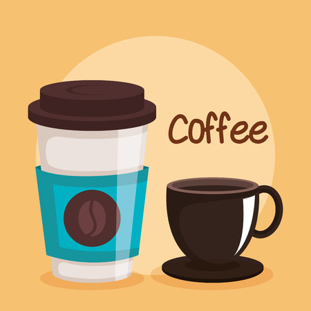 coffee cups two variations disposable drink vector illustration