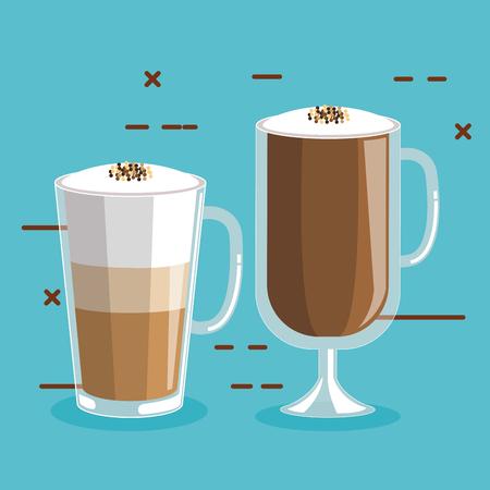 거품과 계 피 벡터 일러스트와 함께 유리에 커피 음료