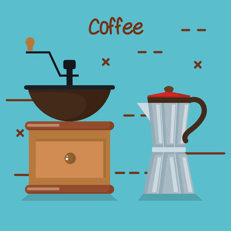 coffee grinder manual maker and moka pot in blue background vector illustration