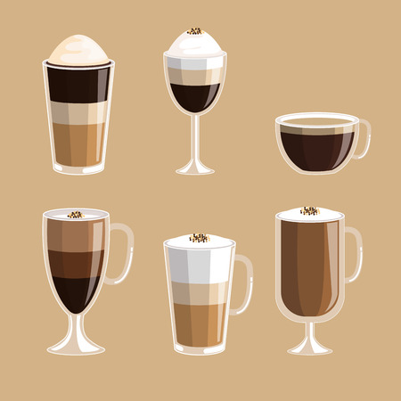 set of coffee cups elements aroma fresh drink vector illustration Illustration