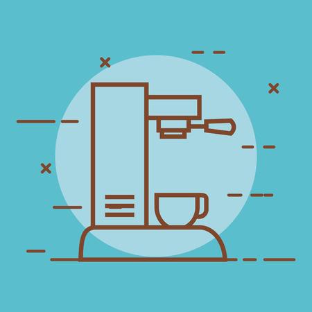 de koffiemachine met een kop kan voor de vectorillustratie van het huisrestaurant worden gebruikt