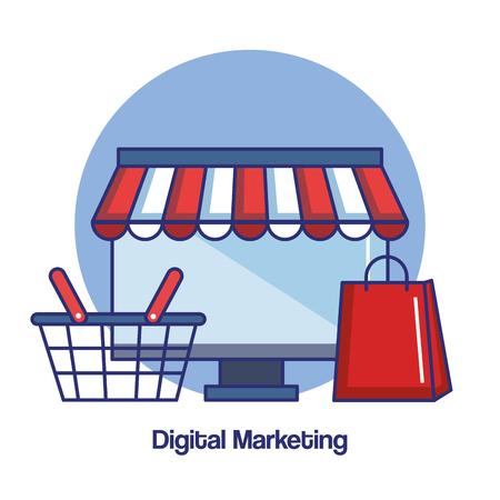 gift basket: digital marketing computer basket paper bag gift vector illustration Illustration