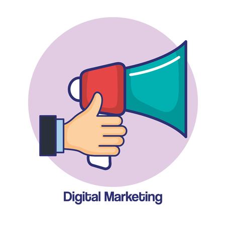 digital marketing and holding loudspeaker advertising vector illustration