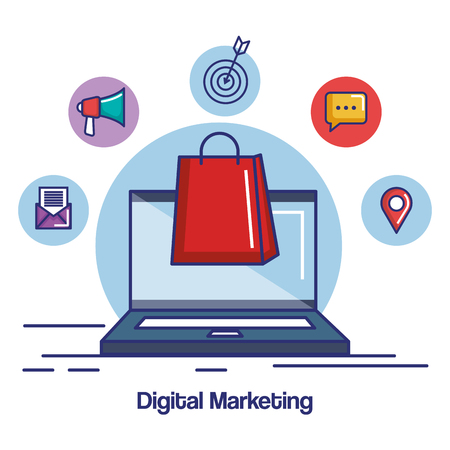 digital marketing laptop with bag gift shopping internet vector illustration