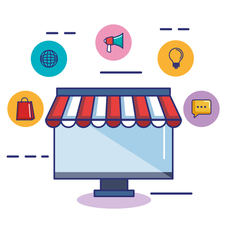 business online shop computer monitor store icon vector illustration Illustration