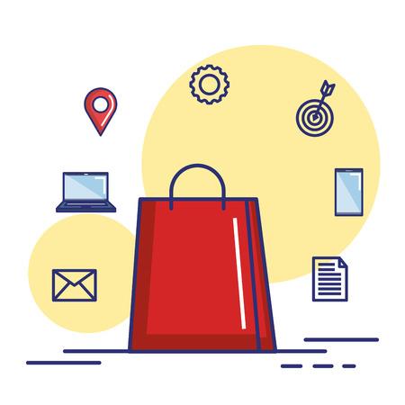 paper bag gift shopping online internet concept vector illustration Illustration