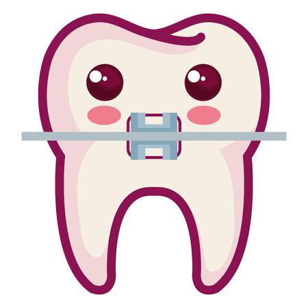 歯のブラケット分離文字アイコン ベクトル イラスト デザインと