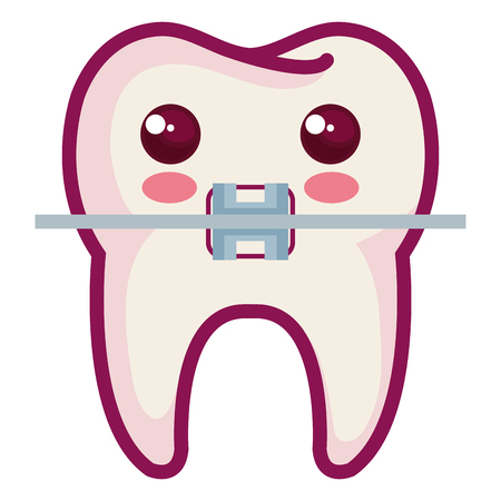 Tooth with bracket character isolated icon vector illustration design