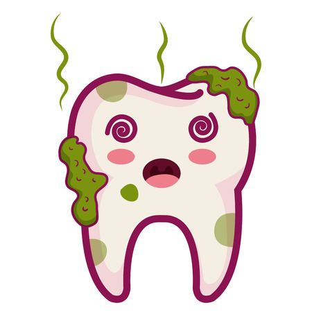 Tooth dirty character isolated icon vector illustration design