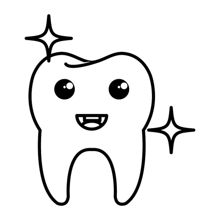 happy tooth character isolated icon vector illustration design