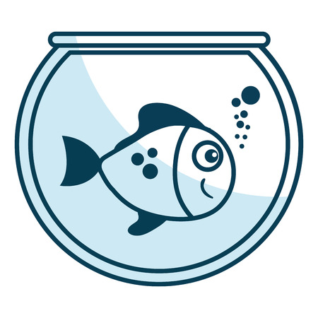 cute ornamental fish in aquarium vector illustration design