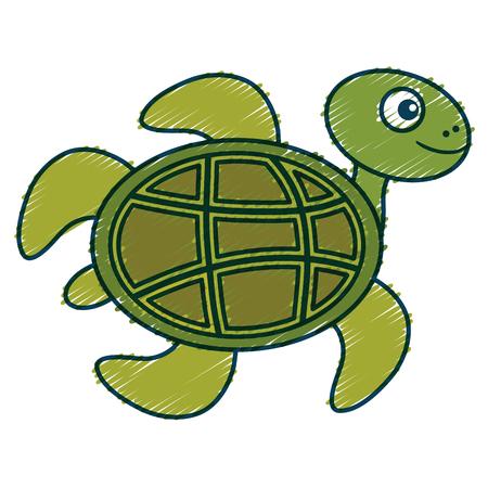 귀여운 거북이 캐릭터 아이콘 벡터 일러스트 디자인