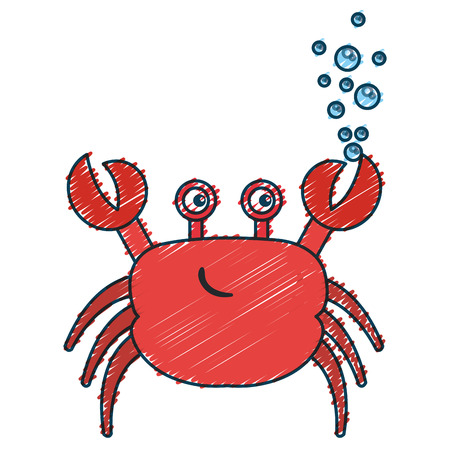 Cute crab character icon vector illustration design