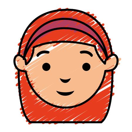 glamorous: beautiful woman head avatar character vector illustration design Illustration