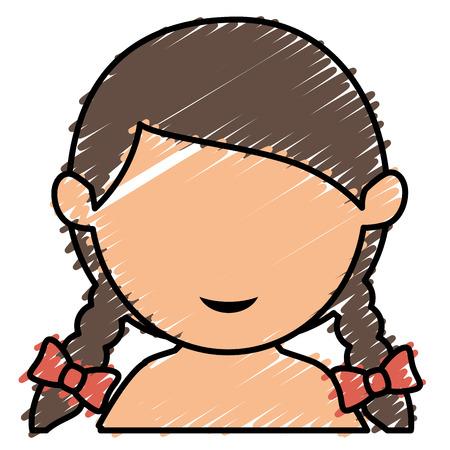 little girl shirtless avatar character vector illustration design