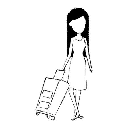 Belle fille avec valise illustration vectorielle conception Banque d'images - 84822619