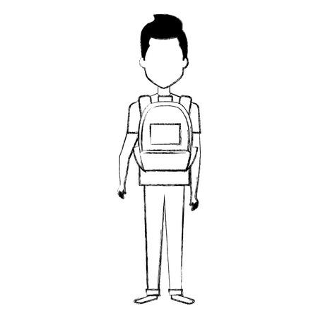 학교 가방 벡터 일러스트 레이 션 디자인을 가진 젊은 남자