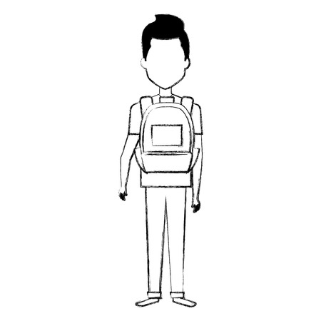 young man with school bag vector illustration design
