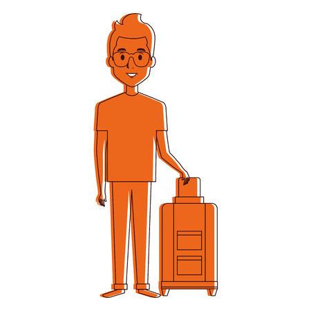 man met koffer karakter vector illustratie ontwerp