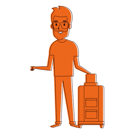 touristic: man with suitcase character vector illustration design Illustration