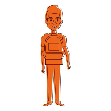 スクール バッグ ベクトル イラスト デザインと若い男  イラスト・ベクター素材
