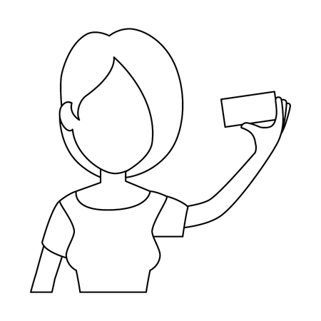 vrouw die een selfie-pictogram over witte vectorillustratie als achtergrond neemt