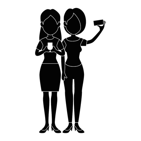 girls taking a selfie icon over white background vector illustration Illusztráció