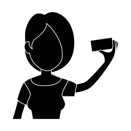 woman taking a selfie icon over white background vector illustration