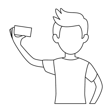 man taking a selfie icon over white background vector illustration Illustration