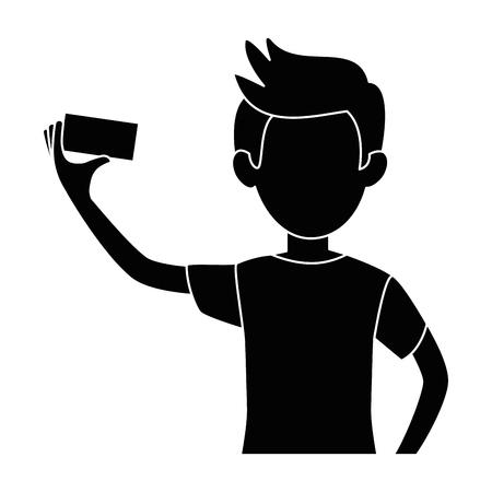 man die een selfie-pictogram over witte achtergrond vectorillustratie
