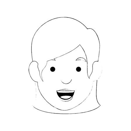 흰색 배경 벡터 일러스트 레이 션을 통해 만화 여자 얼굴 아이콘 일러스트