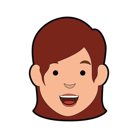 흰색 배경 위에 만화 여자 얼굴 아이콘 화려한 디자인 벡터 일러스트 레이 션