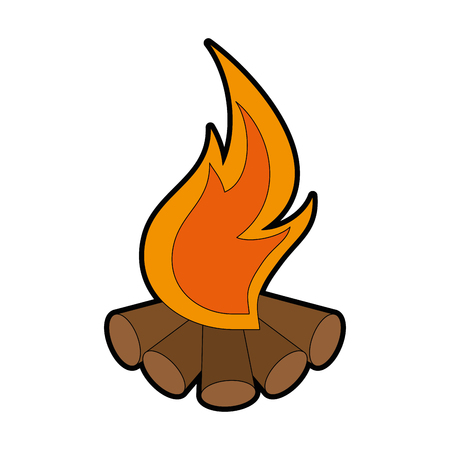 campfire icon over white background vector illustration
