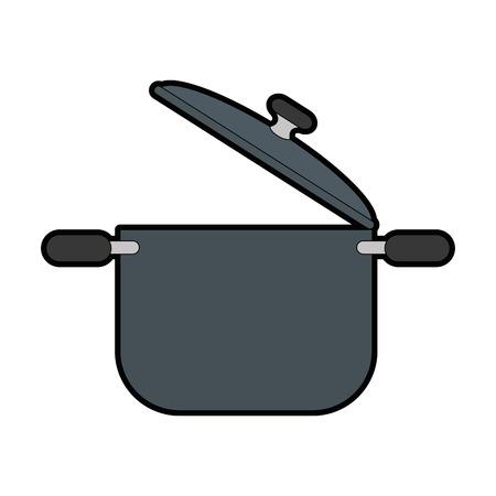 koken pot icoon over witte achtergrond vector illustratie Stock Illustratie