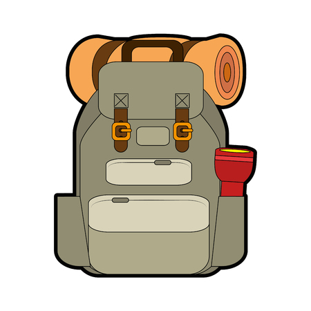 travel backpack with slepping bag and lantern icon over white background vector illustration