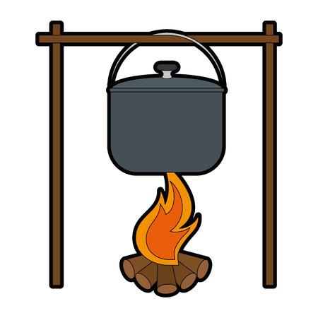 白い背景のベクトル図にキャンプファイヤー アイコンの上の鍋料理  イラスト・ベクター素材