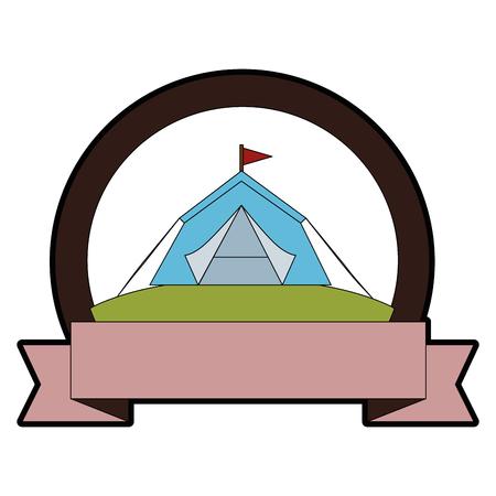 白地カラフルなデザインのベクトル図で避難所テント アイコンとエンブレム