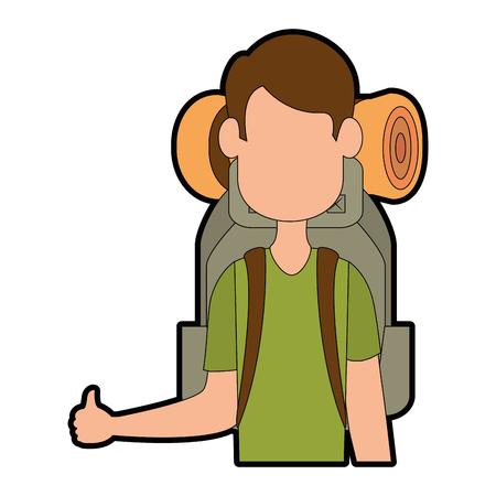 camping man met reizen rugzak pictogram over witte achtergrond kleurrijke ontwerp vectorillustratie