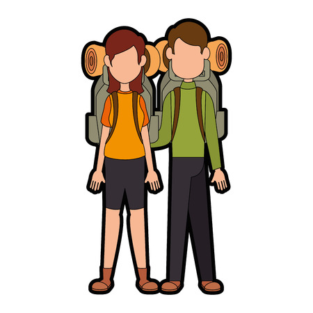 Paar camping mensen icon over witte achtergrond vector illustratie