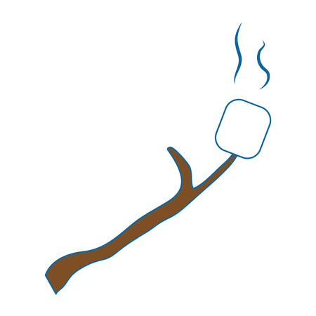 Marshmallow roasted on wooden stick icon over white background vector illustration