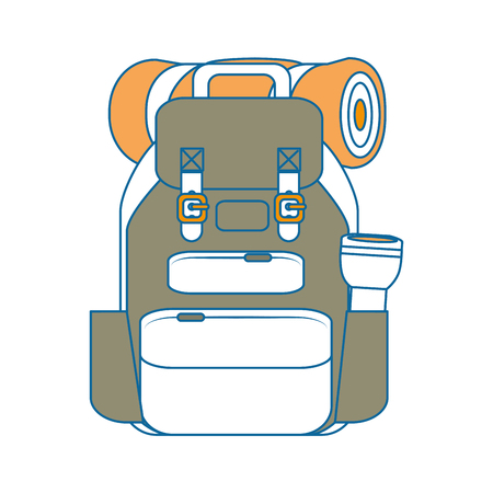 reisrugzak met slepping zak en lantaarn pictogram over witte achtergrond vectorillustratie