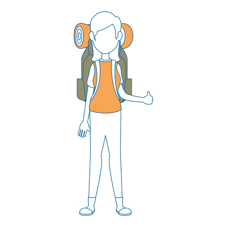 camping woman with travel backpack icon over white background vector illustration Illustration