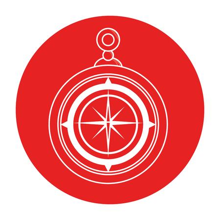 赤い円と白い背景のベクトル図をコンパスのアイコン