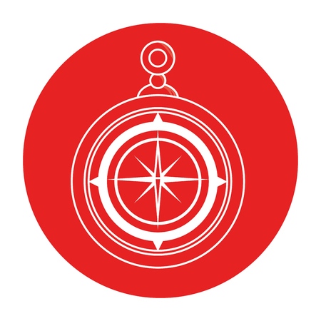 Compass icon over red circle and white background vector illustration Çizim