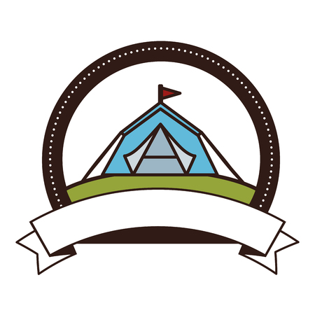 Emblem with shelter tent icon over white background vector illustration