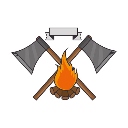 emblem with axs and campfire icon over white background vector illustration Ilustração