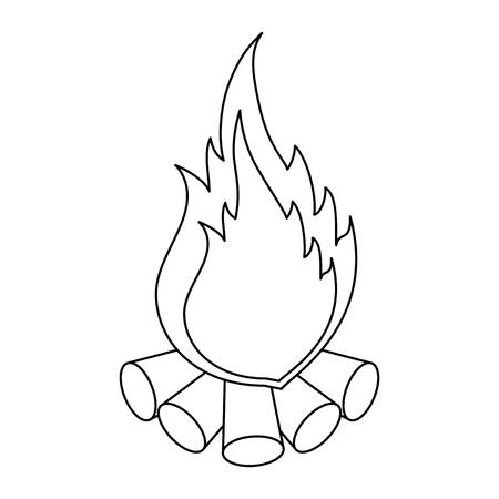 Campfire icon over white background vector illustration Vettoriali
