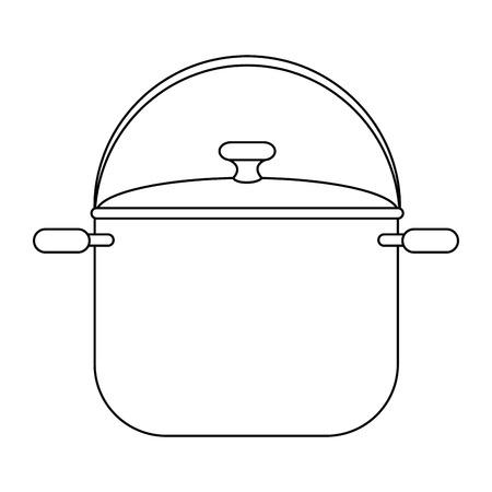 Kokend pottenpictogram over witte vectorillustratie als achtergrond