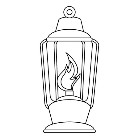 Camping lantern icon over white background vector illustration
